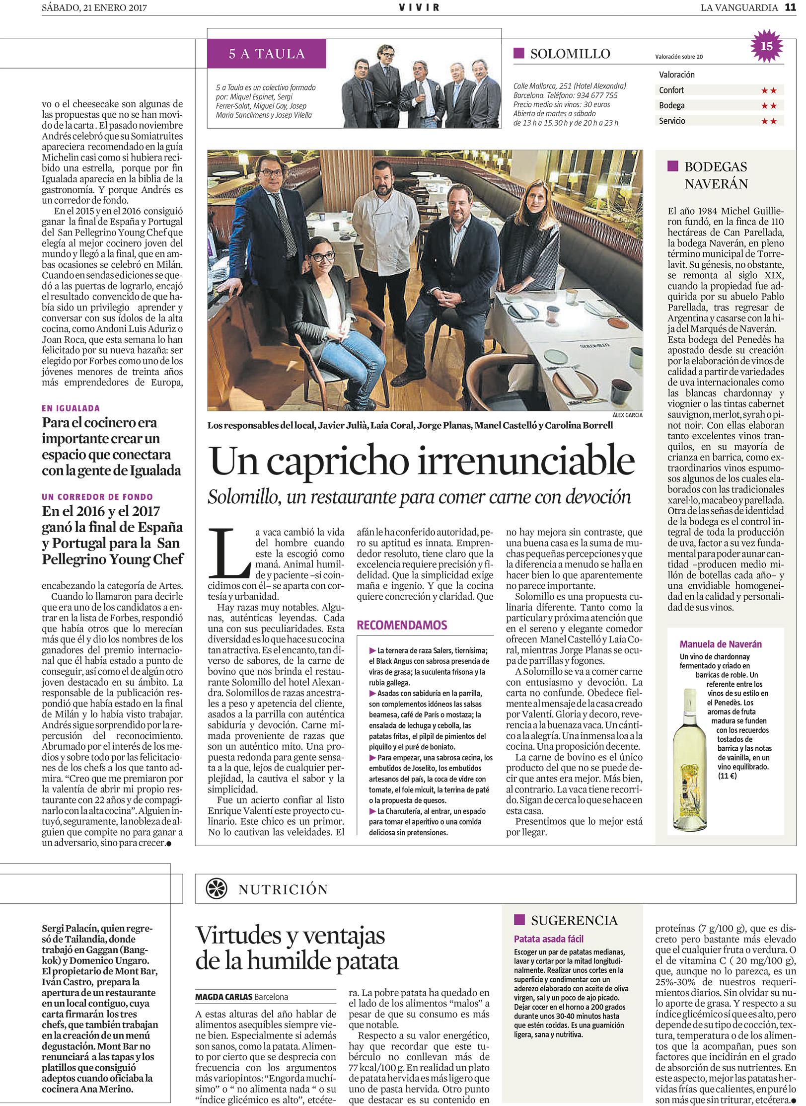 Aparición en La Vanguardia