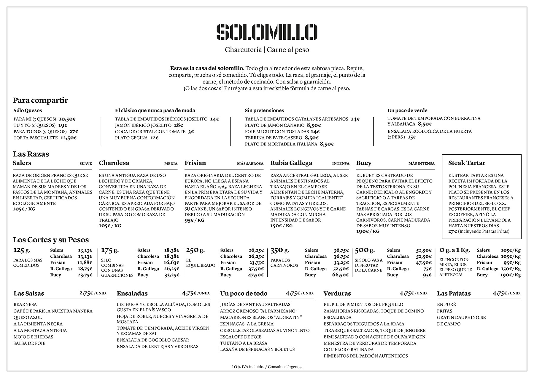 carta restaurante solomillo